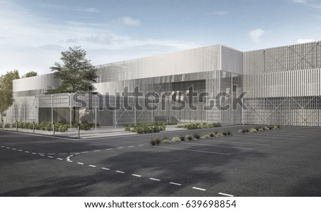 3d rendering white modern industrial metal and steel structure building with tree and blue sky #639698854