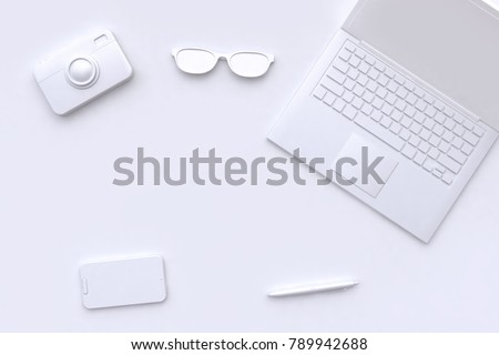 3d rendering white scene abstract laptop camera glasses pen smart phone blank space technology concept stock photo
