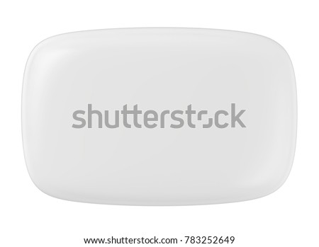 3D rendering White Soap on white background