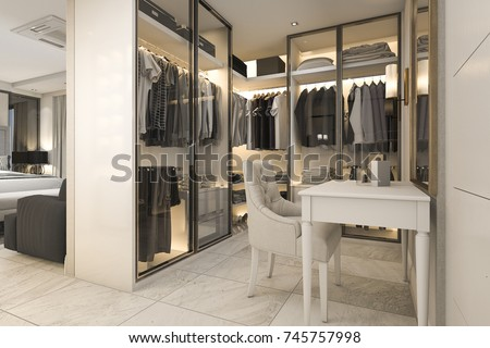 3d rendering white walk in closet with golden decor near bedroom