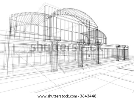 3D rendering wire-frame of office building. Concept - modern architecture, designing.