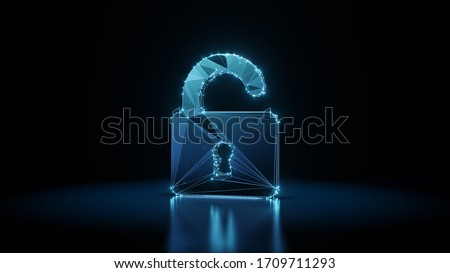3d rendering wireframe digital techno neon glowing symbol of open padlock with shining dots on black background with blured reflection on floor