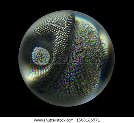 3d rendering with abstract glass sphere with deformed metal atomic wire structured figure inside in matte aluminium and glossy silver metal material on black background