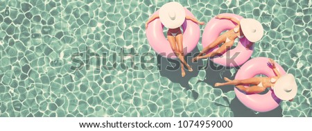 3d rendering. women swimming on ...