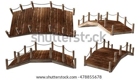 3D rendering wood bridge