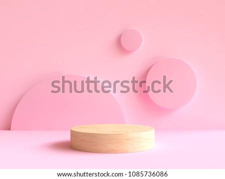 3d rendering wood podium minimal pink wall scene