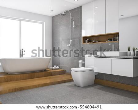 3d rendering wood step bathroom ...