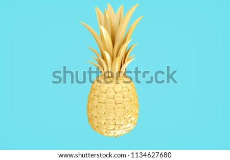 3D rendering yellow gold pineapple illustration isolated on bright pastel blue background with clipping path for die cut to use in any backdrop