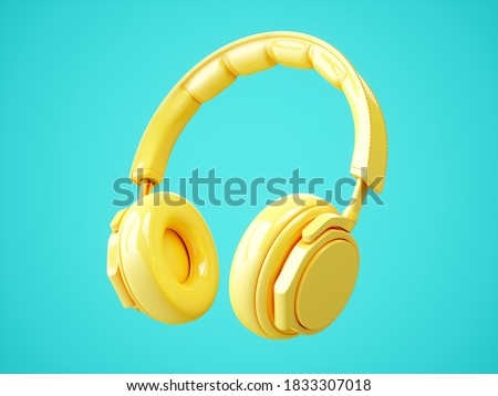 3D Rendering Yellow headphones isolated on blue background