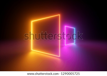 3d rendering, yellow pink squares, neon light, blank frames, abstract ultraviolet background, glowing lines, portal, vibrant colors, empty virtual windows, night club interior, fashion podium