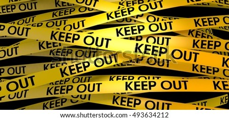 3d rendering yellow warning strip keep out