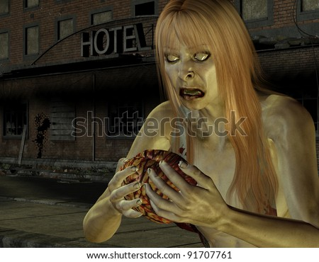3D Rendering Zombie woman with brain