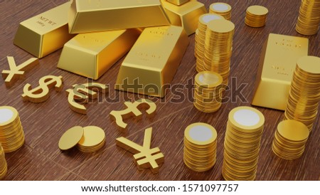 3D renderring illustration of gold bars and golden currency symbols on wood table.
