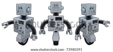 3D Renders of a boxy metal robot on white background.