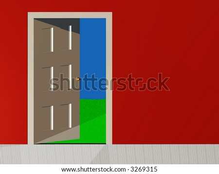 3d rendition of a open door with red wall