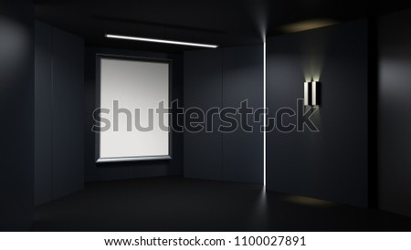 3D rendring empty rendering picture frame with minimalist and modern design studio room space background, low key lighting . #1100027891