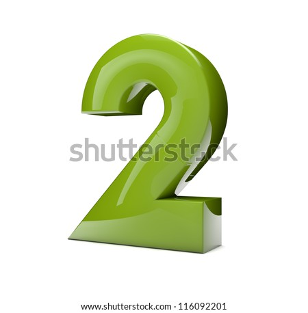 3d rener of a green number two - stock photo