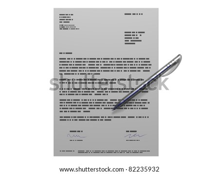 3D representation of a contract with a pen, relating to concepts such as agreement, signature as well as signing up