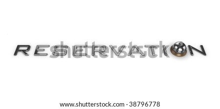 3D 'Reservation' text, with a service bell to represent the 'O'