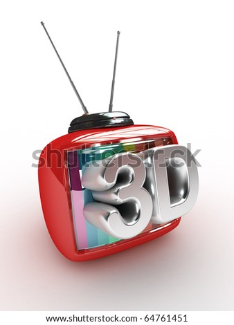 3D Retro Tv with 3d text  isolated