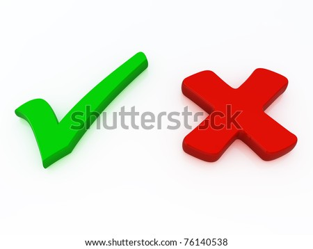 3d Right and wrong check mark signs isolated