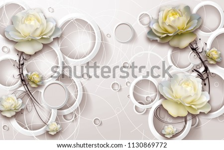 3D rings and flowers wallpaper #1130869772