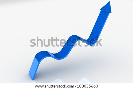 3D rising arrow on white background