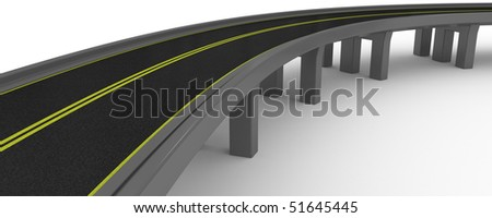 3D Road and the bridge on a white background