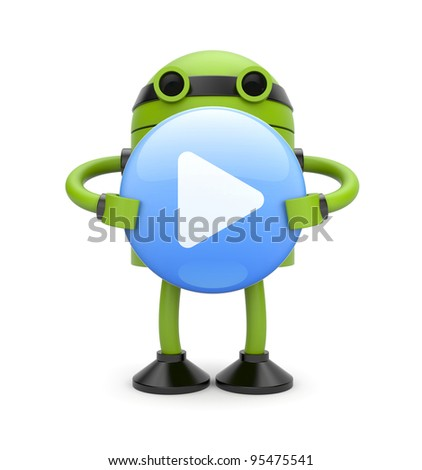 3d Robot with play button. Image contain clipping path