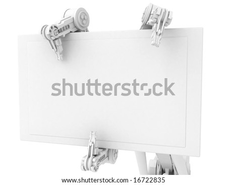 3d robotic arm, over white - stock photo
