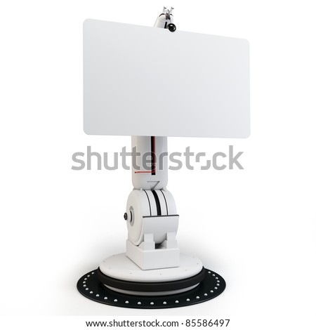 3d robotic arm with blank board on white background