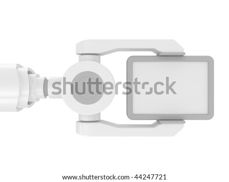 3d robotic arm, with blank on a white background