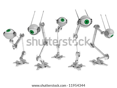 5 3d robotic eyes, horizontal, over white, isolated