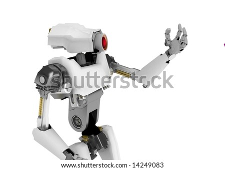 3d robotic figure, over white, isolated