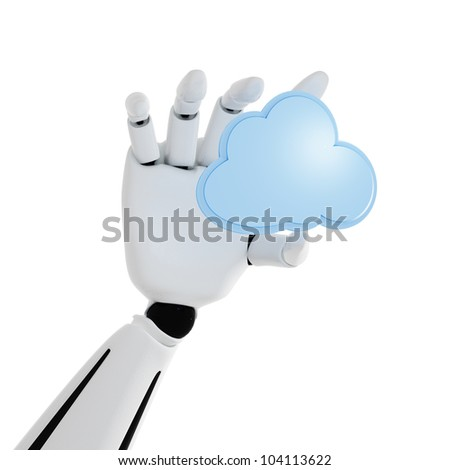 3d robotic hand with cloud computing icon on a white background