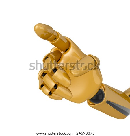 3d robotic hand with pointing finger showing some direction. Clipping path included.