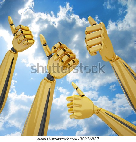 3d robotic hands with thumb up on a sky background