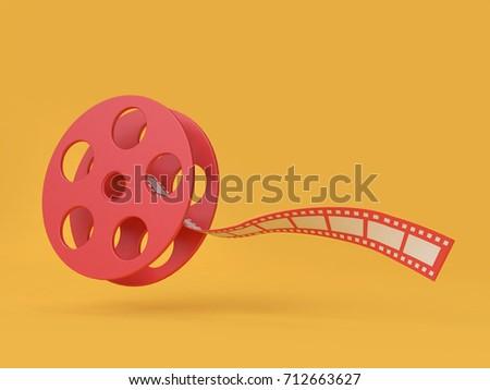 3d roll cinema-movie roll film cartoon style 3d render movie,cinema,entertainment concept