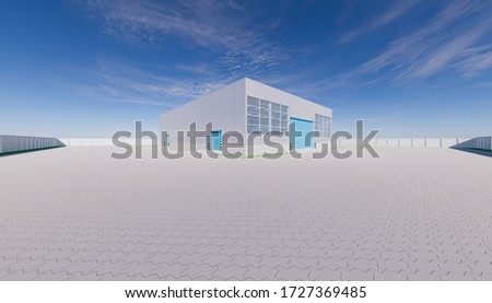 3d roller shutter door and industrial building or hangar building to hold aircraft or spacecraft. Hangar built of metal, concrete and block paving or brick paving floor decorative outdoor and space.