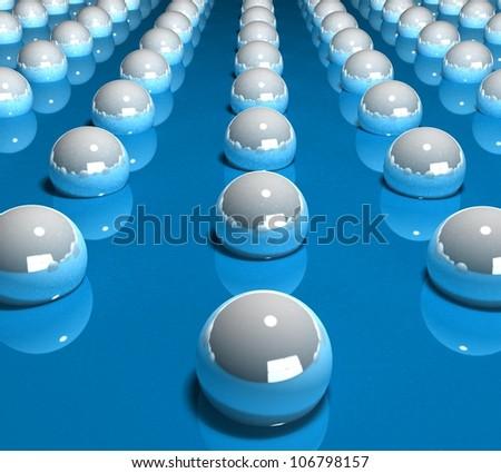 3d rolling balls on blue