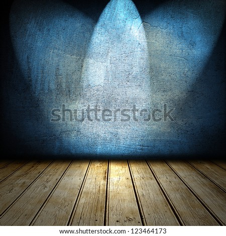 3d room with old wooden floor and blue walls