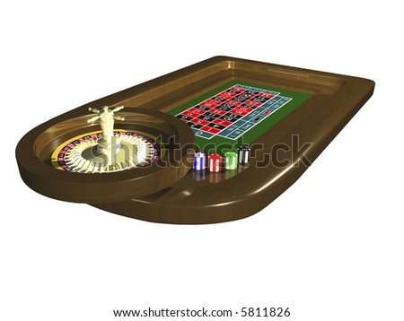3D roulette table isolated on white background