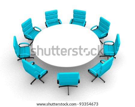 3d round conference room, isolated on white - this is 3d render illustration