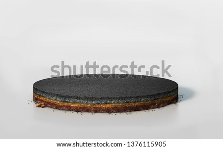 3D round layered soil cross section with asphalt road, realistic 3D Illustration slice circle cutaway with tar road isolated on white