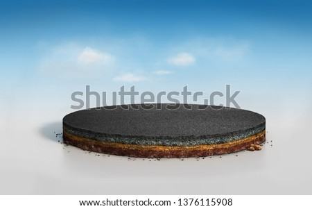 3D round layered soil cross section with asphalt road, realistic 3D Illustration slice circle cutaway with tar road blue sky