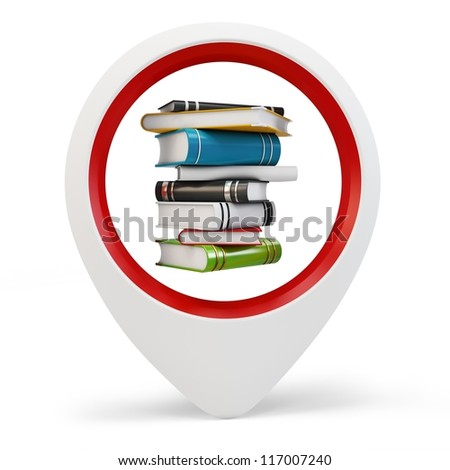3d round pointer with books on white background