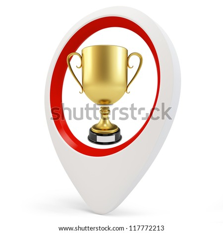 3d round pointer with gold cup on white background