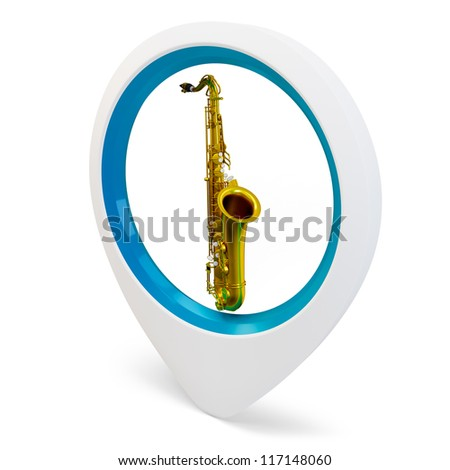 3d round pointer with  saxophone on white background - stock photo