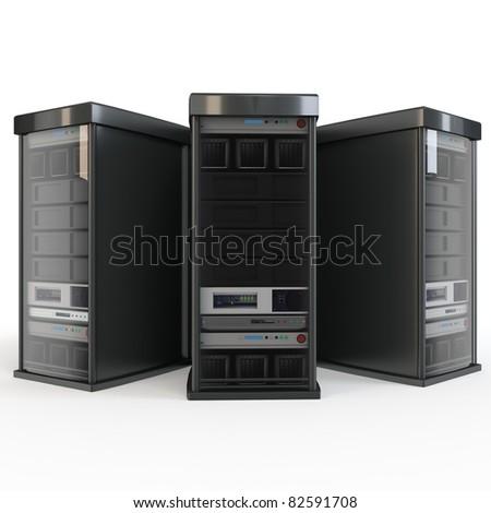 3d row of server racks isolated on white