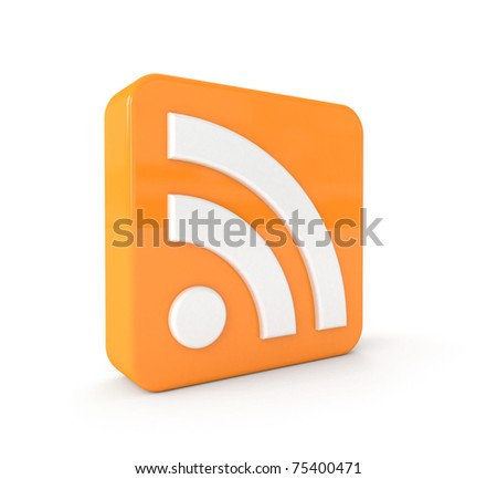 3d RSS icon isolated on white background